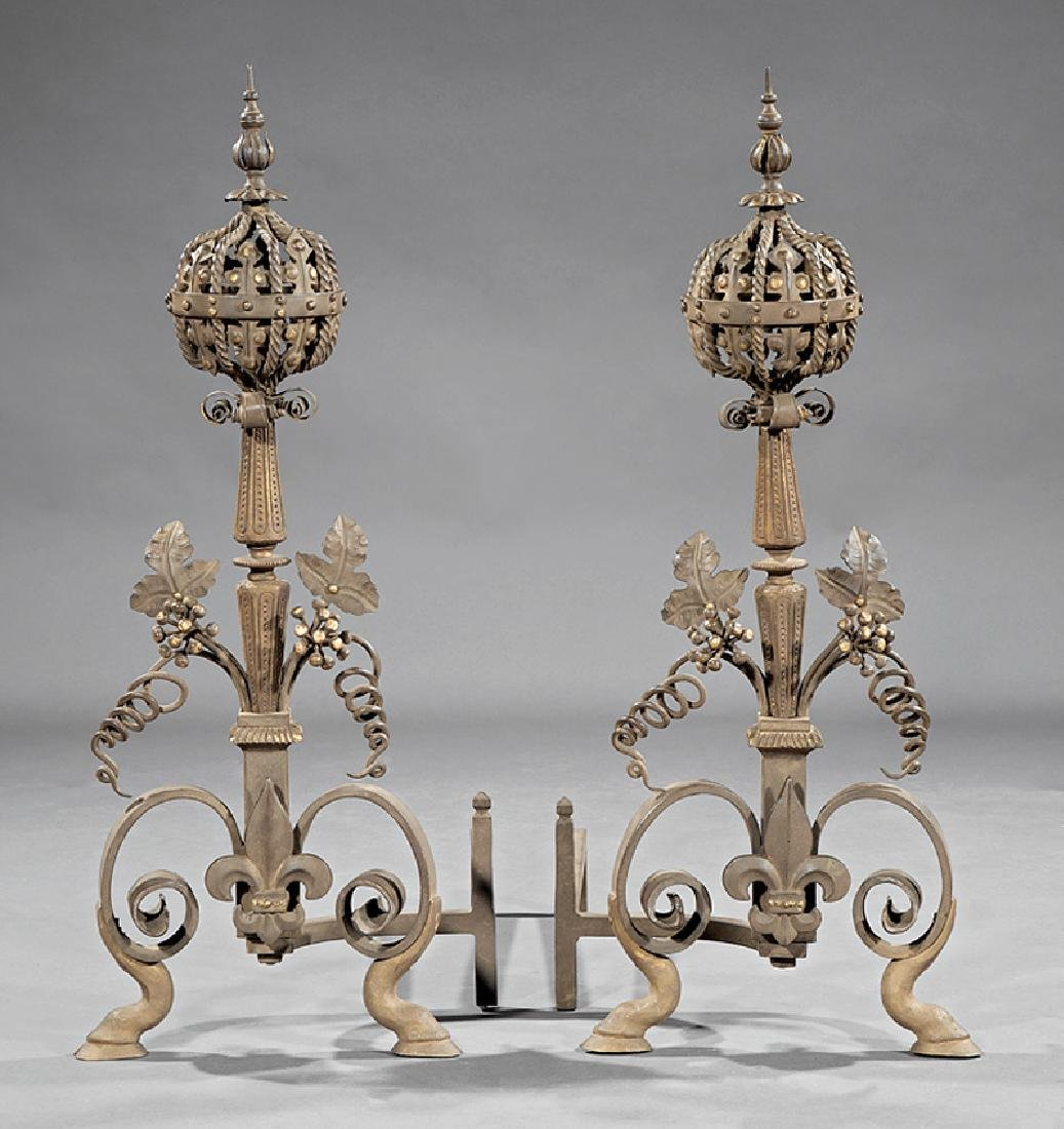 Wrought Iron and Patinated Bronze Andirons