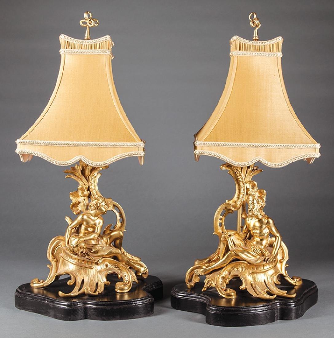 Napoleon III Gilt Bronze Figural Chenets