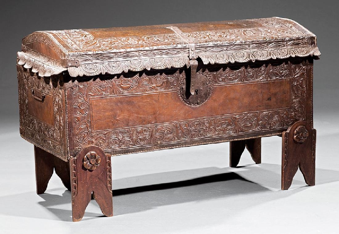 Spanish Colonial Tooled Leather Chest