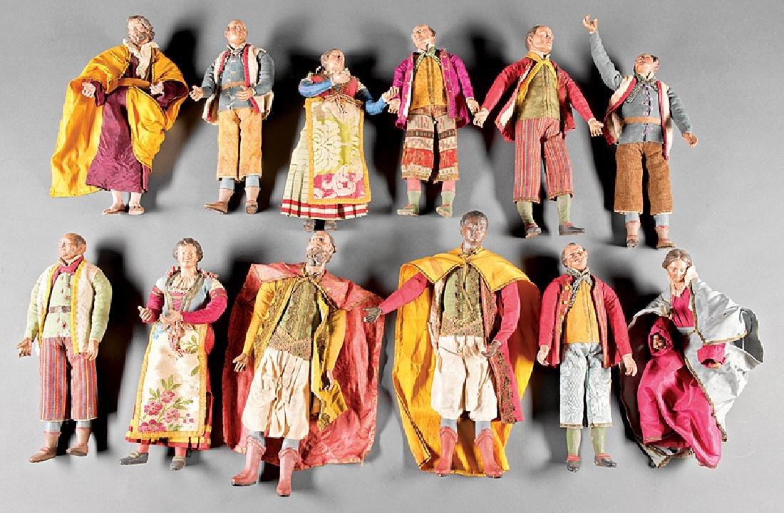 Twelve Neapolitan Creche Figures