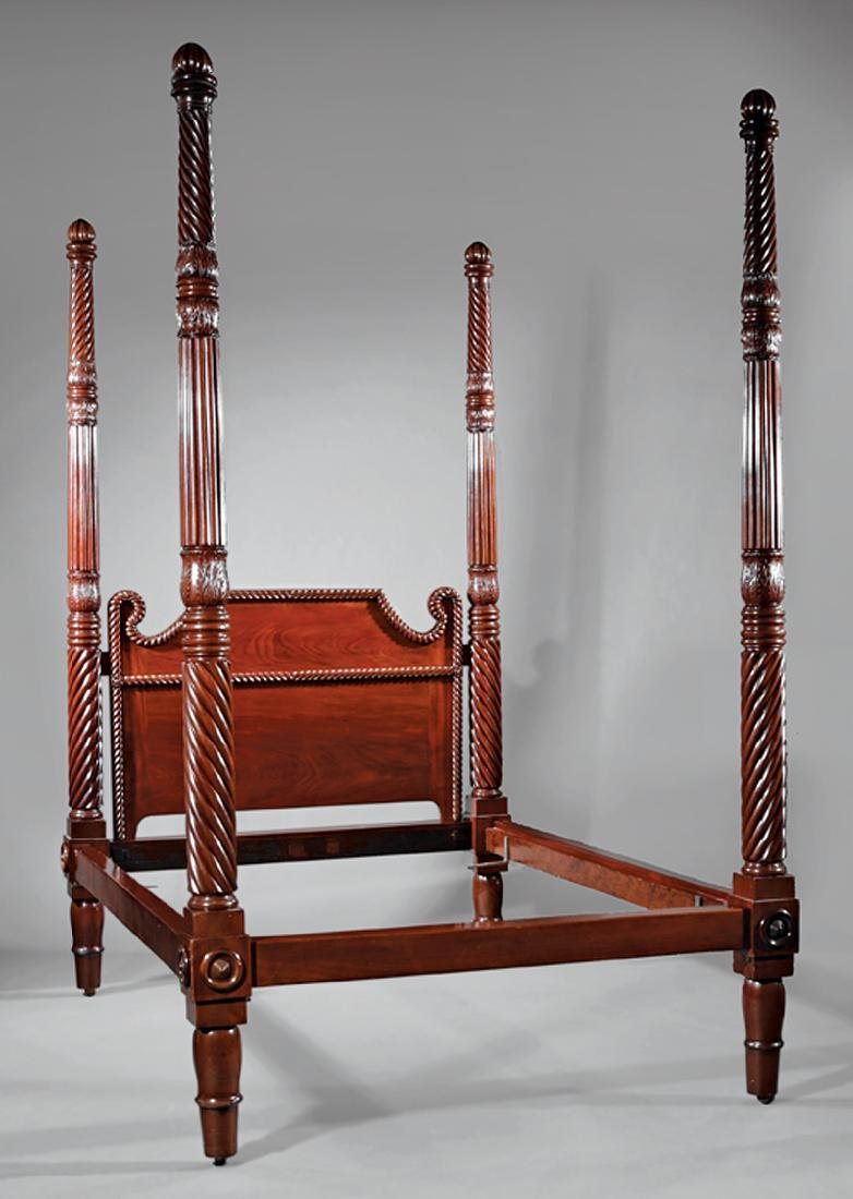 West Indies Carved Mahogany Tall Post Bedstead