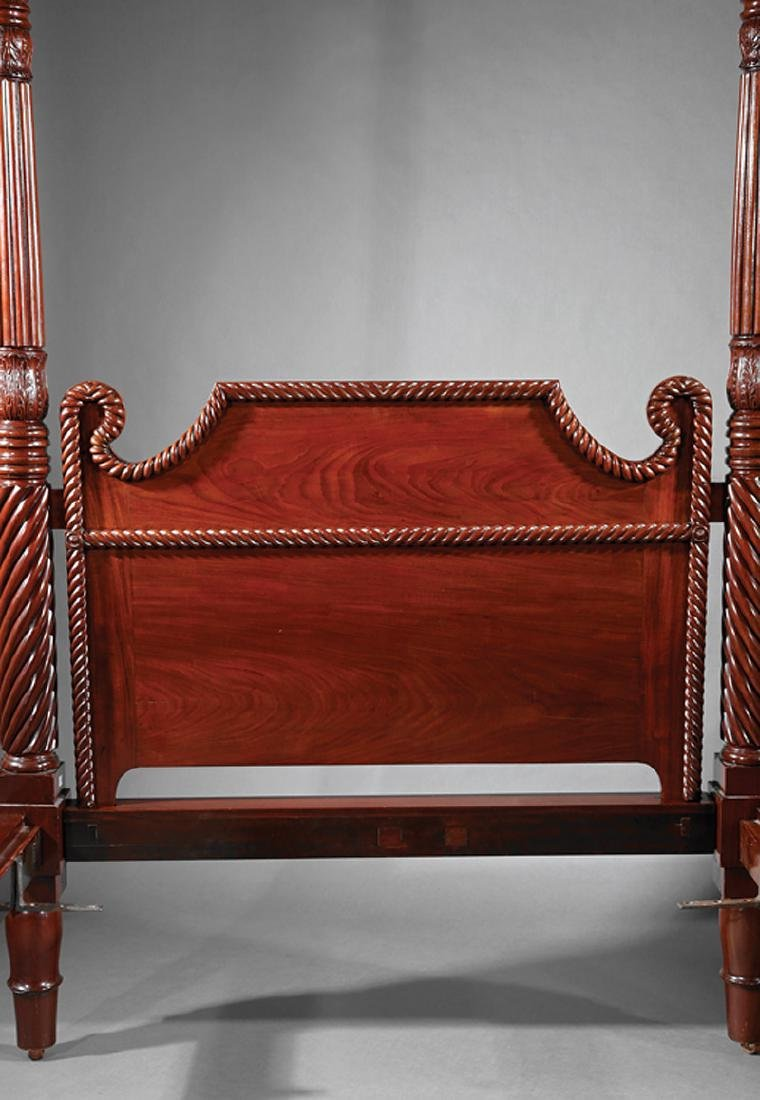 West Indies Carved Mahogany Tall Post Bedstead - 3