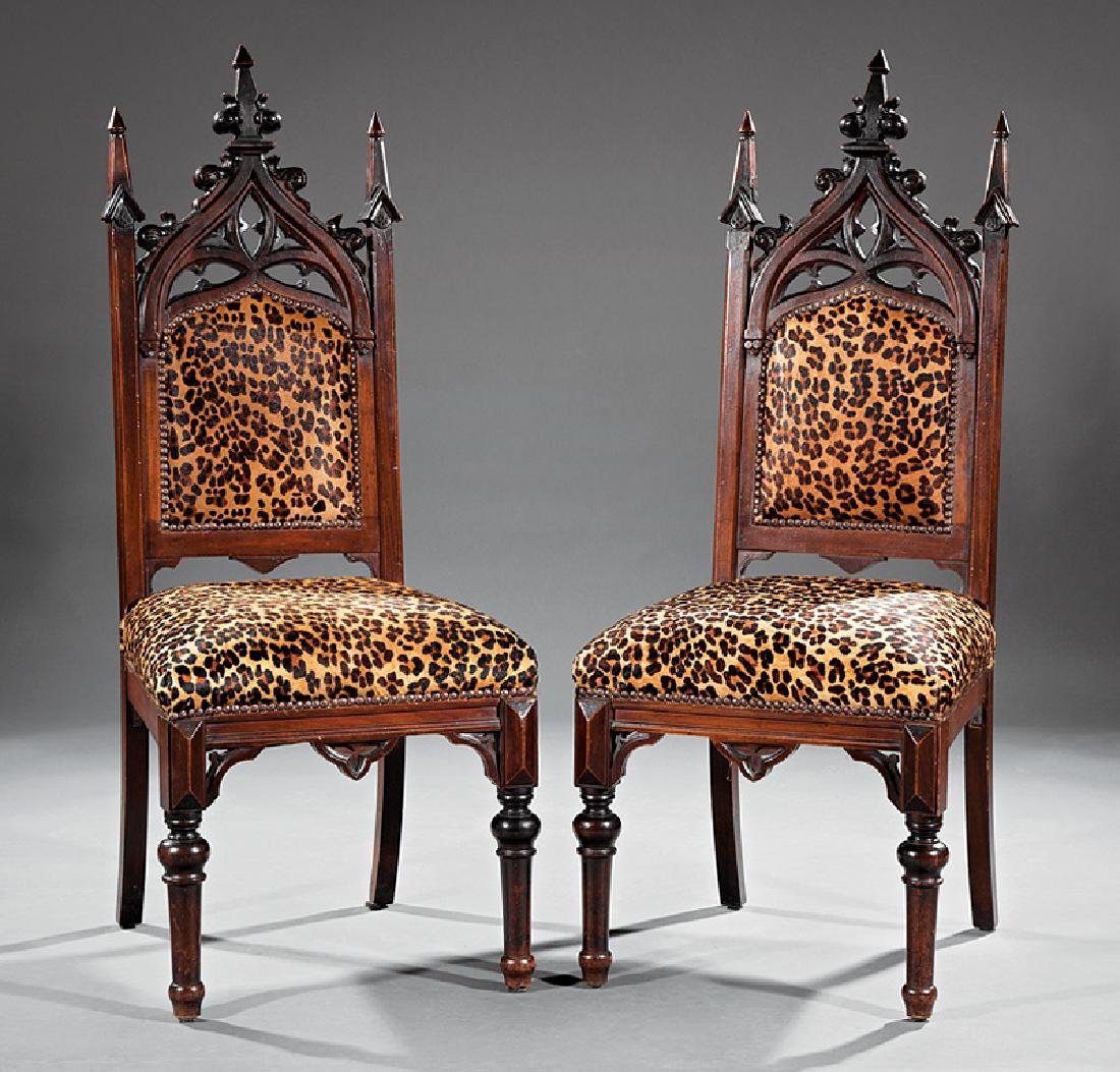 American Gothic Carved Walnut Side Chairs
