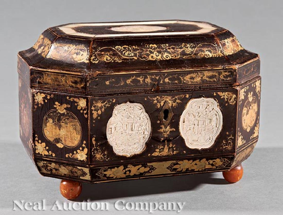 Chinese Export Inlaid Gilt Decorated Tea Caddy