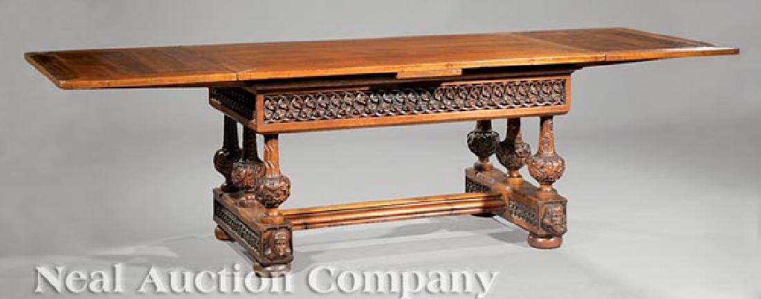 French Carved Oak Draw-Leaf Table