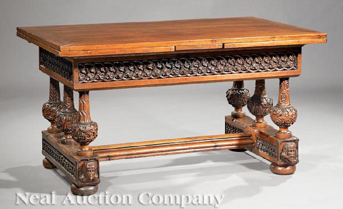 French Carved Oak Draw-Leaf Table - 2
