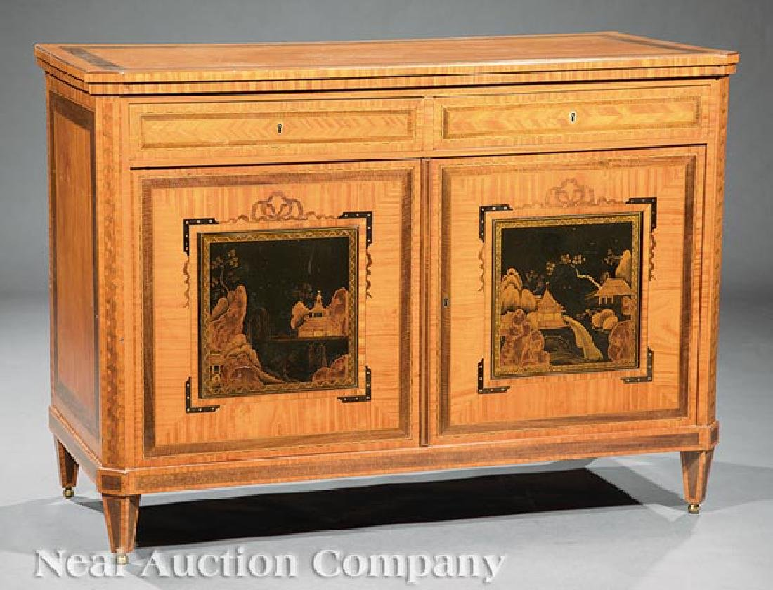 Antique Edwardian Inlaid Satinwood Cabinet