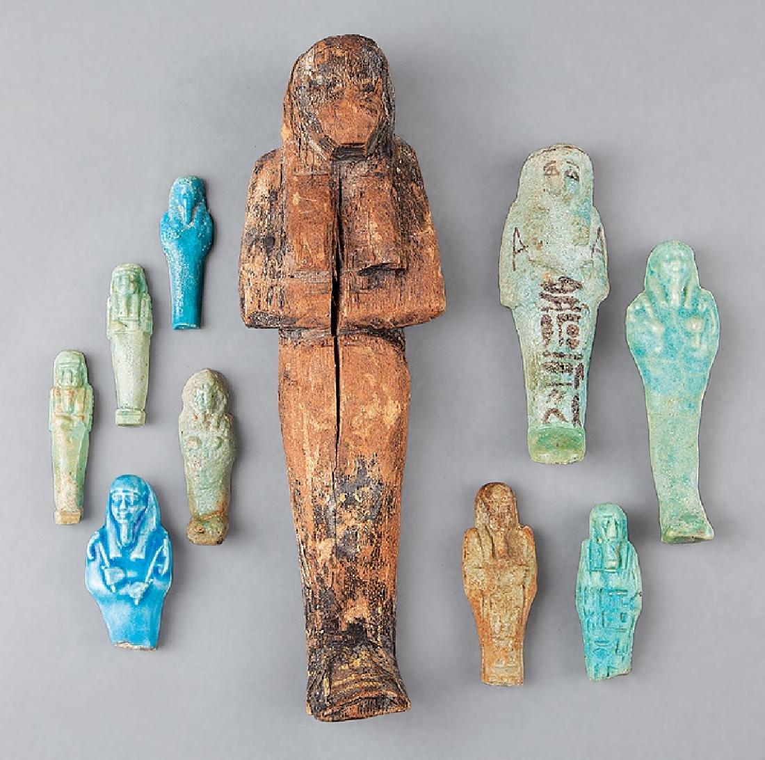 Collection of Nine Egyptian Faience Ushabti