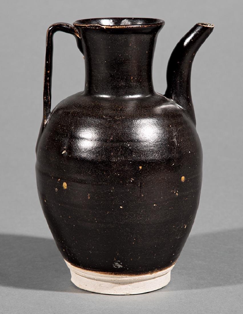 Chinese Black Glazed Pottery Ewer