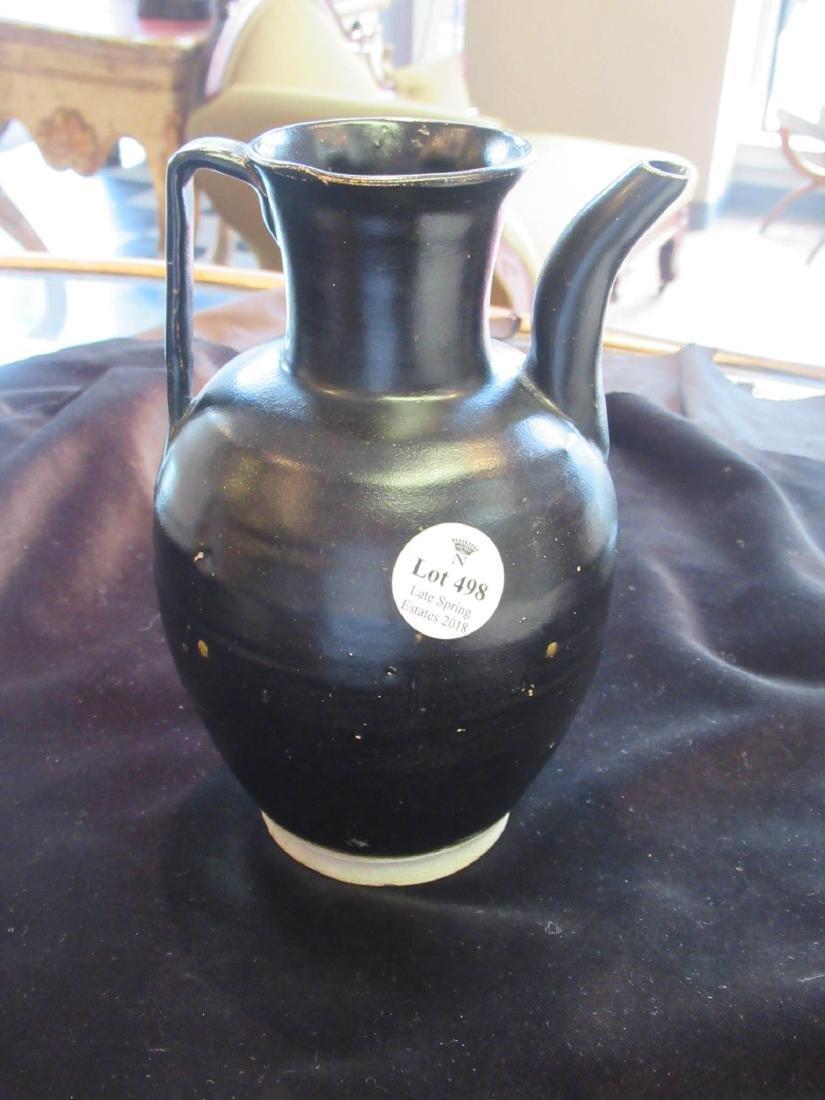 Chinese Black Glazed Pottery Ewer - 3