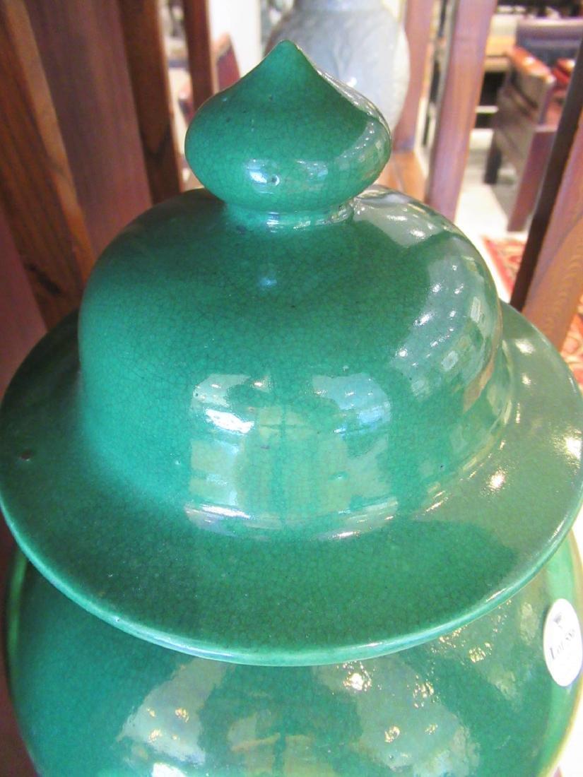 Chinese Green Glazed Porcelain Baluster Vase - 4