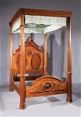 Rococo Carved and Burled Walnut Tester Bed