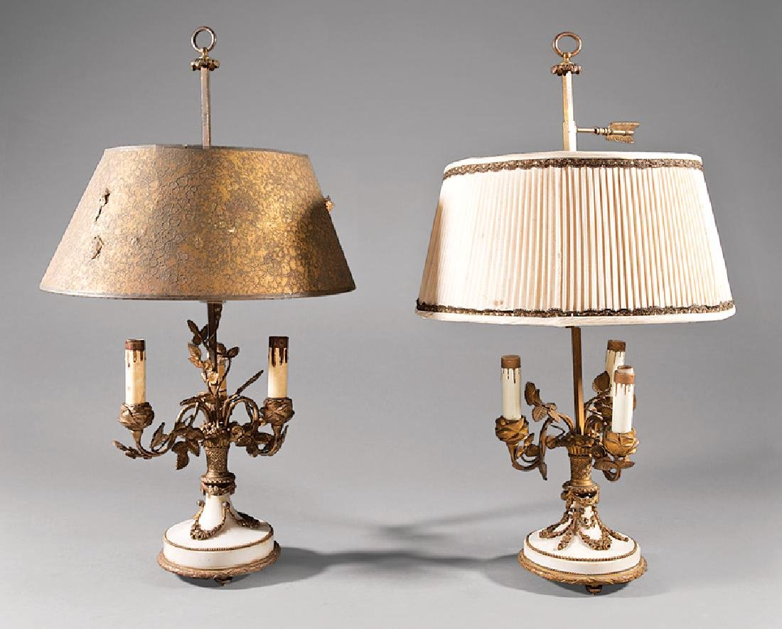 Beaux Arts Bronze and Marble Bouillotte Lamps