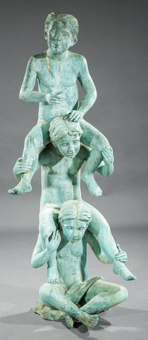 Verdigris Patinated Bronze Figural Fountain