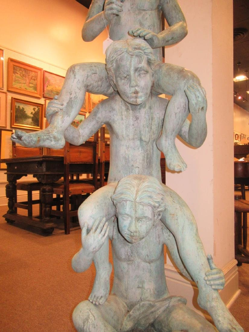 Verdigris Patinated Bronze Figural Fountain - 3
