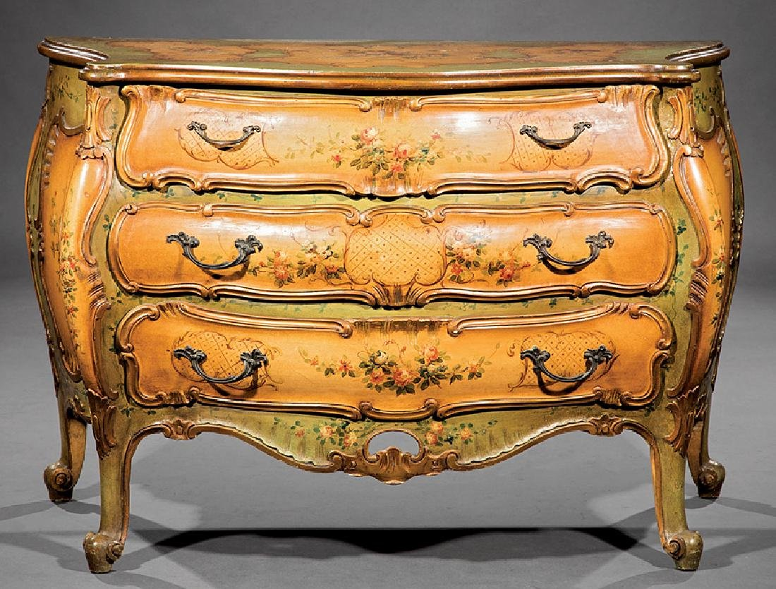 Venetian Carved and Painted Bombé Commode - 2