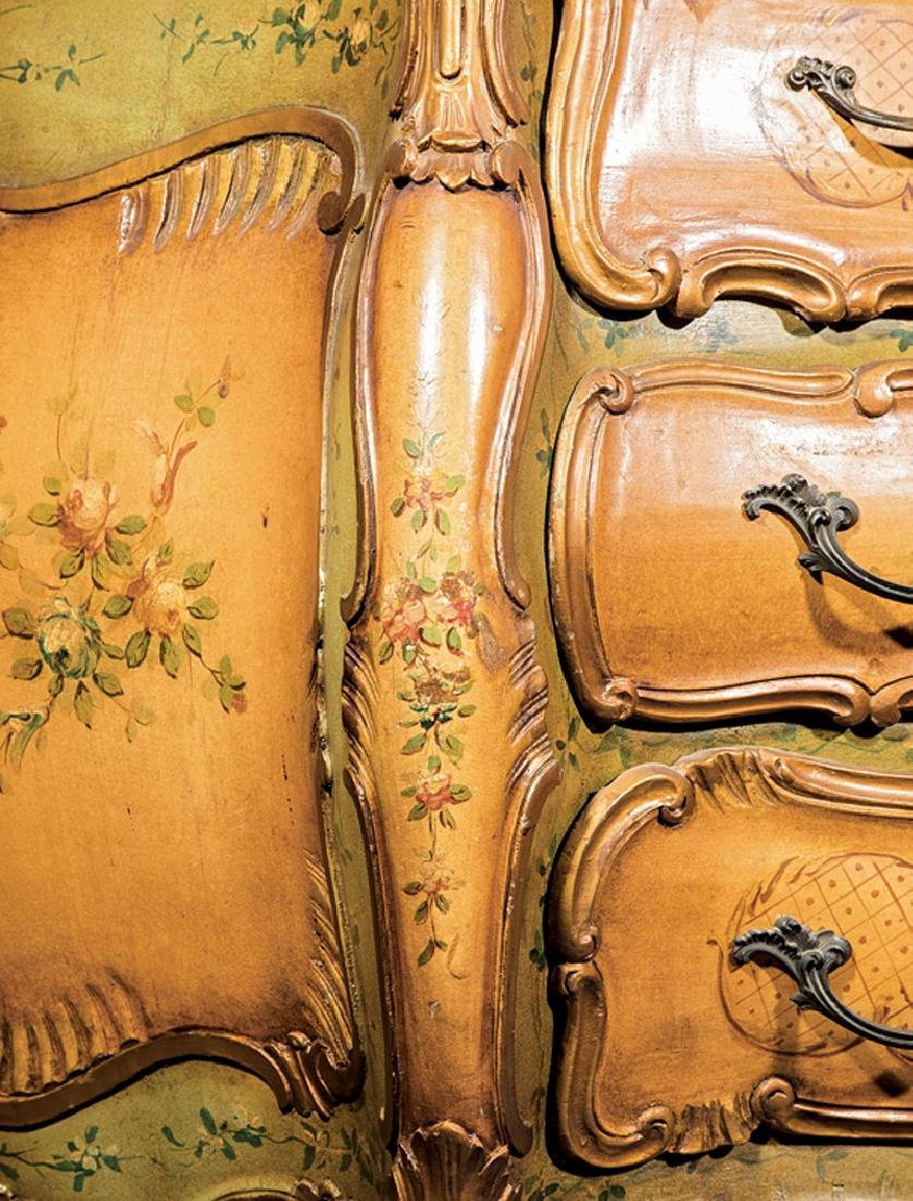 Venetian Carved and Painted Bombé Commode - 3