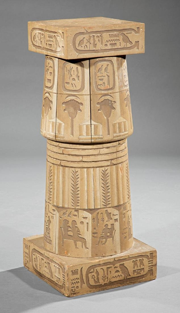 American Egyptianesque Faux Stone Pedestal
