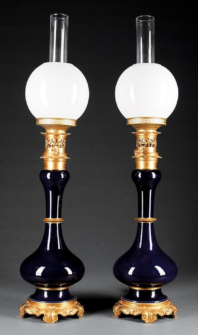 Gilt Bronze-Mounted Porcelain Carcel Lamps