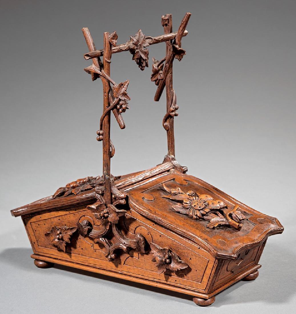 Black Forest Carved Walnut Basket-Form Box