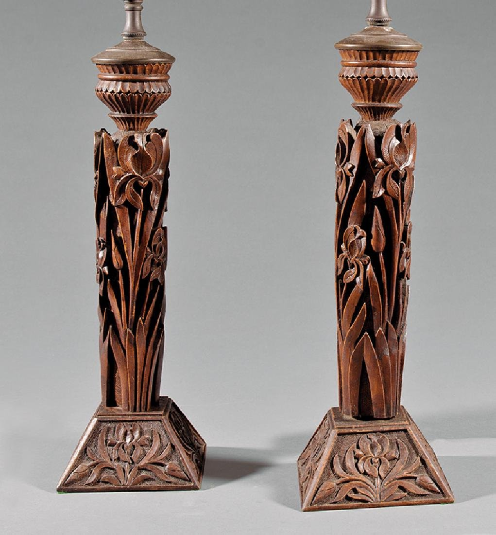 Pair of Black Forest Carved Walnut Lamps