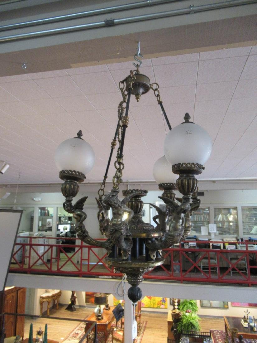 French Patinated Bronze Four-Light Chandelier - 2