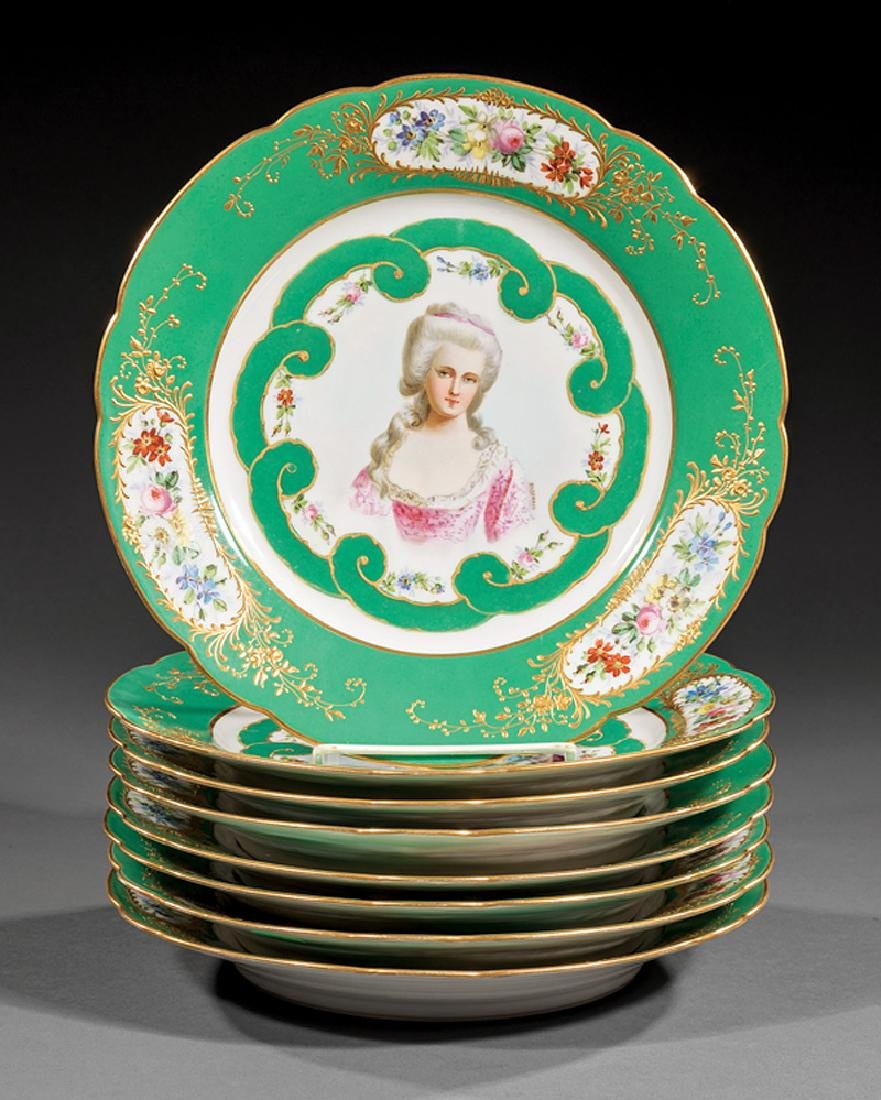 Sevres-Style Polychrome Porcelain Plates