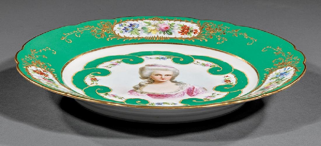 Sevres-Style Polychrome Porcelain Plates - 4