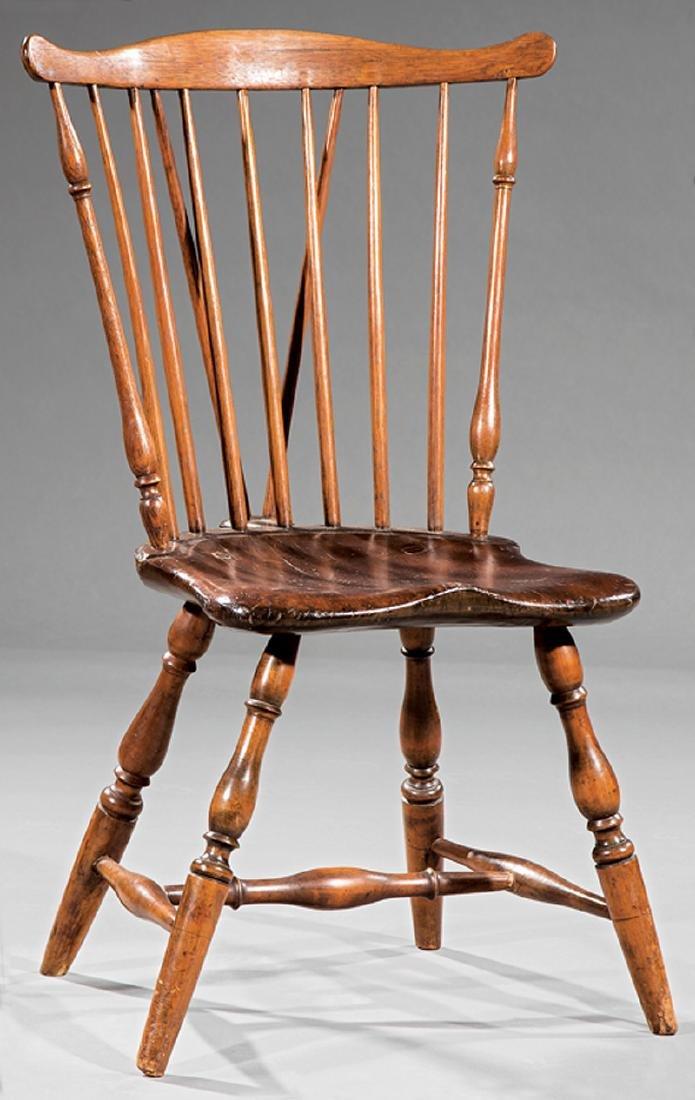 Carved Hardwood Braceback Windsor Chair