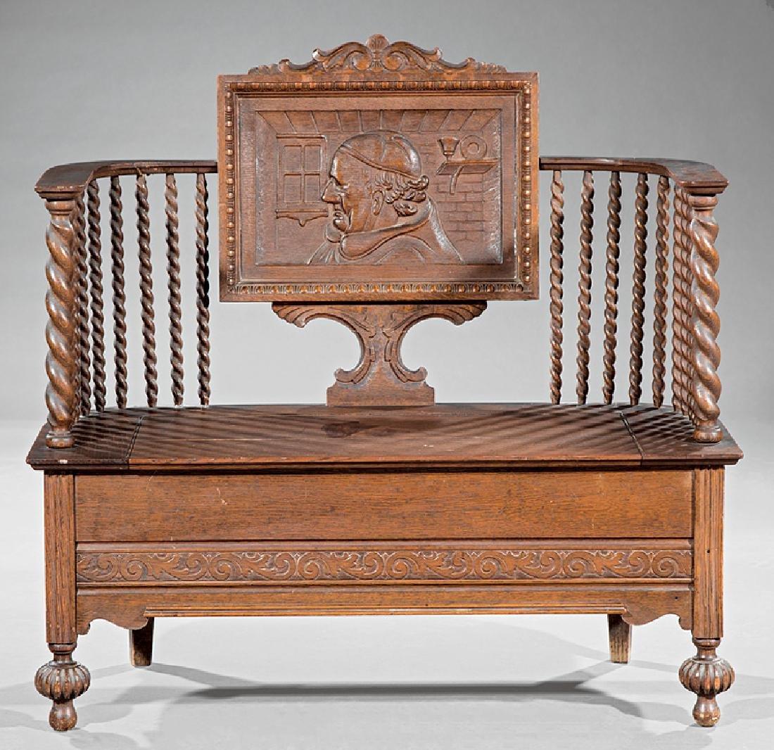 American Carved Oak Bench - 2