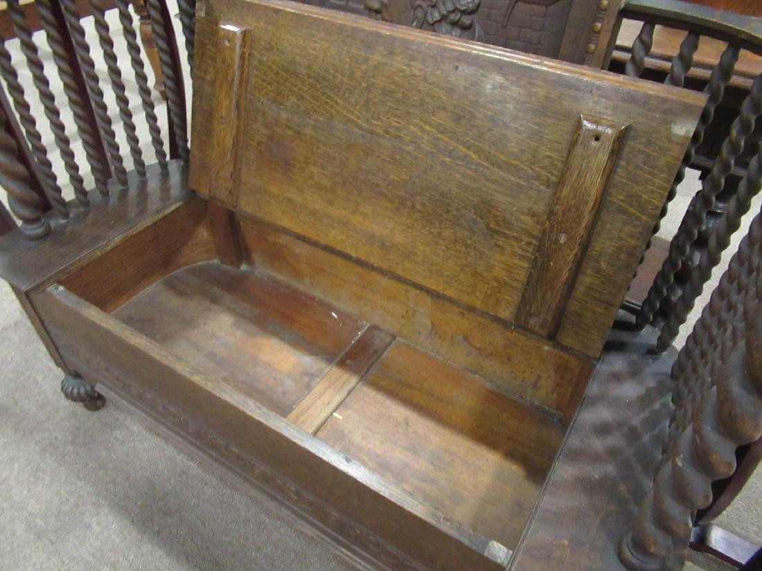 American Carved Oak Bench - 4