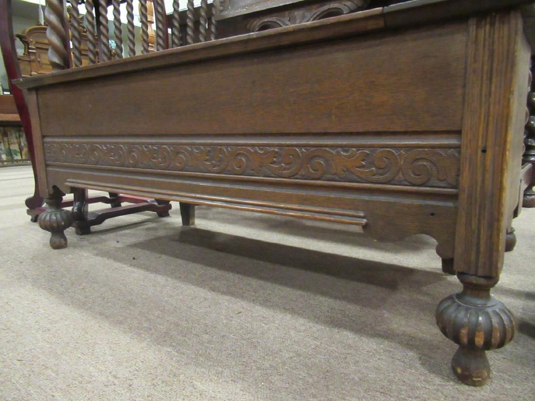American Carved Oak Bench - 7