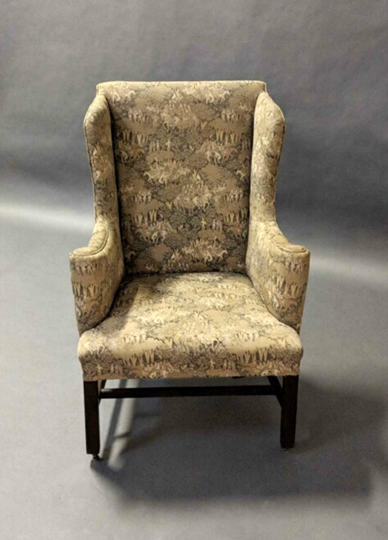 American Federal-Style Mahogany Wing Chair - 2