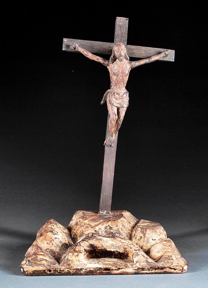 Santa Fe Carved and Polychromed Wood Crucifix