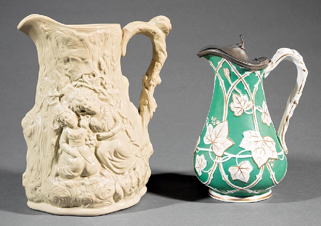 Two English Molded Pottery Pitchers