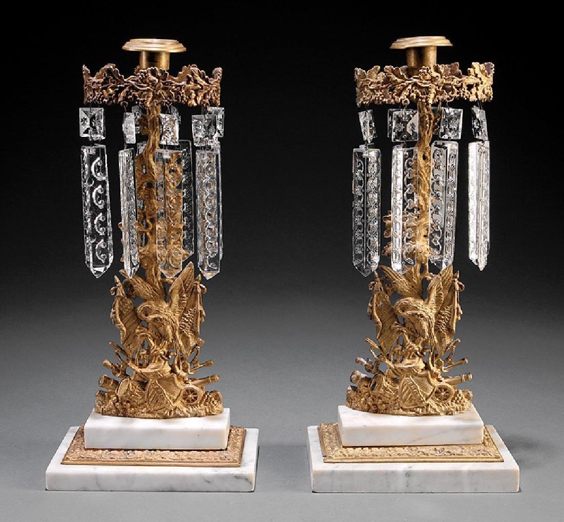 Pair of American Gilt Brass Girandoles