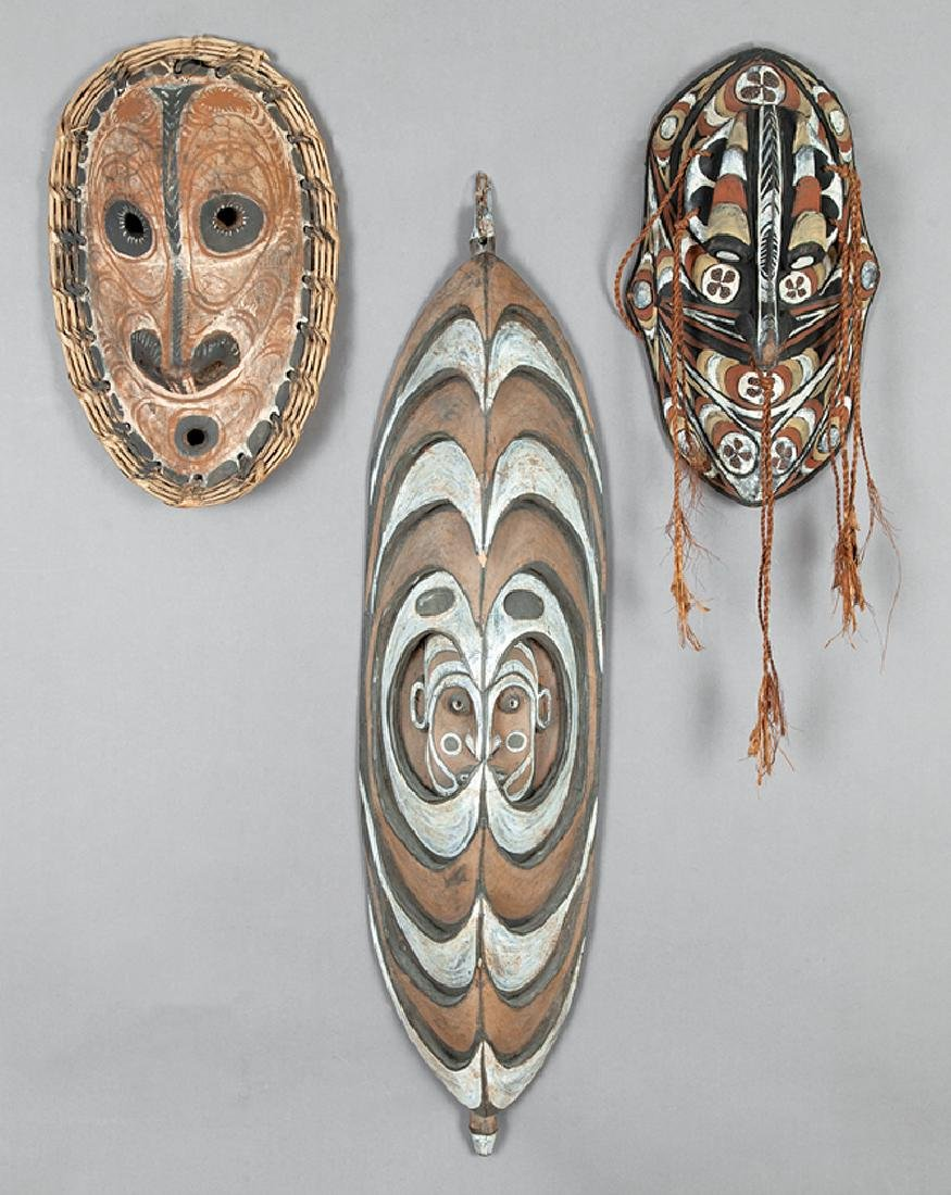 Three Oceanic Carved and Painted Wood Masks
