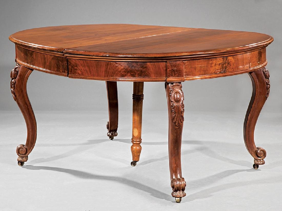 American Rococo Carved Walnut Dining Table
