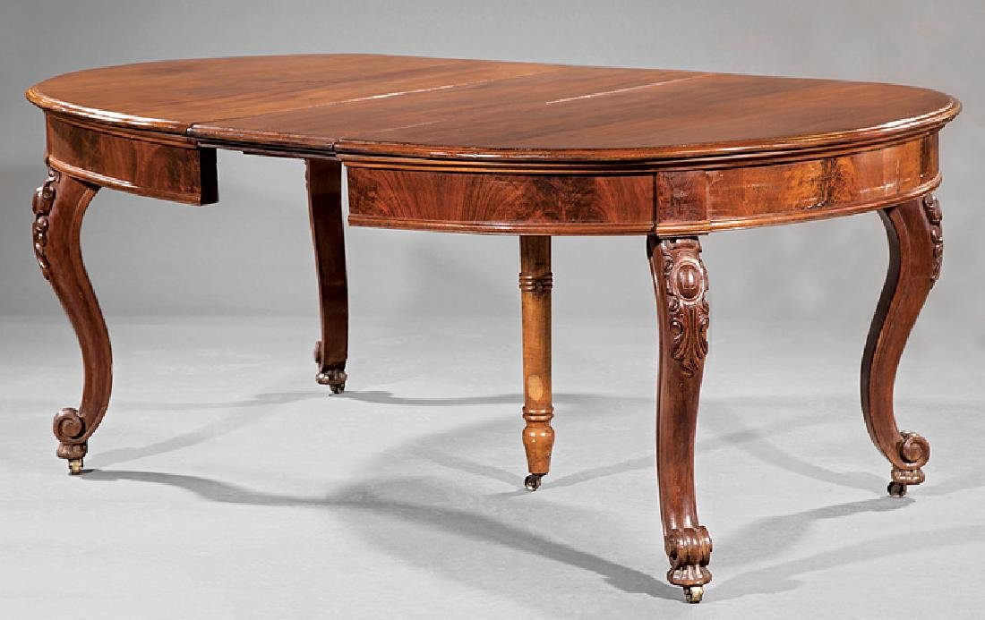 American Rococo Carved Walnut Dining Table - 2