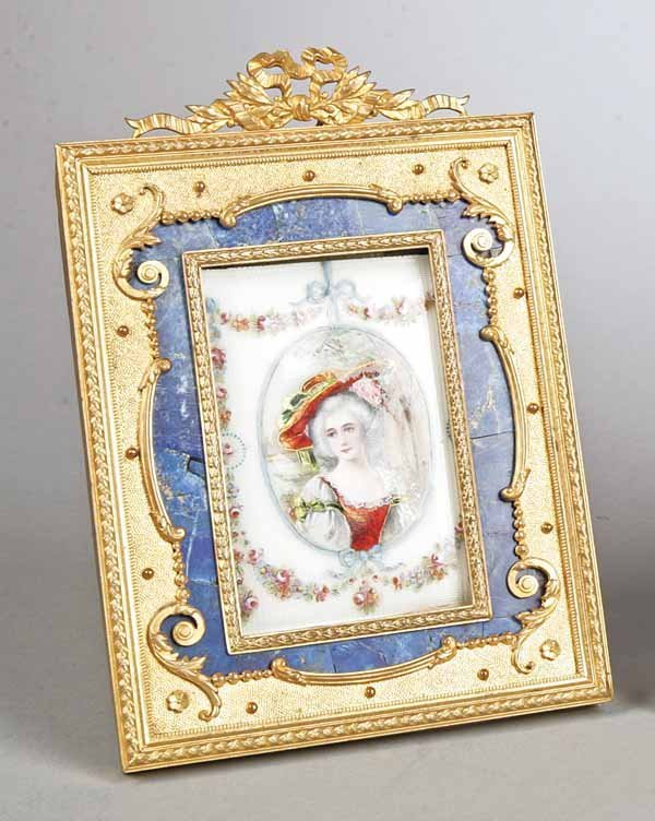 0001: French Enamel-on-Copper Painted Glass Miniature