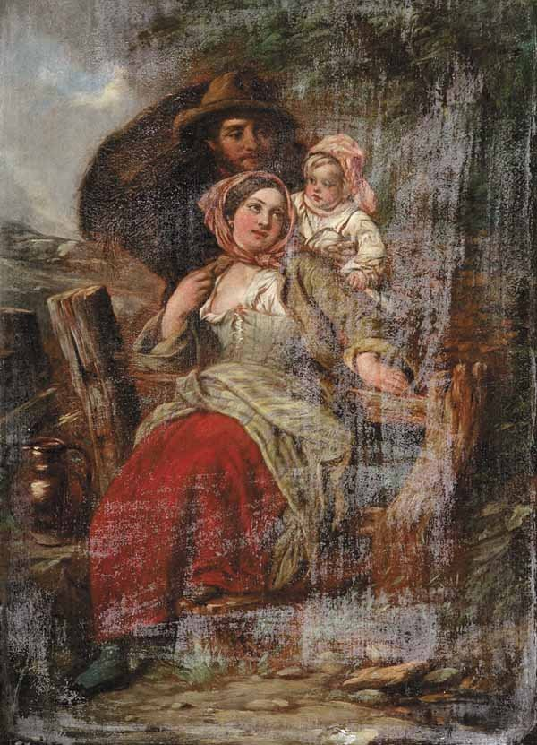 """0006: Attr to James Curnock, """"Rustic Family"""", oil"""