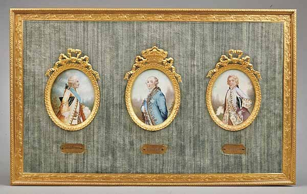0007: Three French Oval Miniature Portraits on Ivory