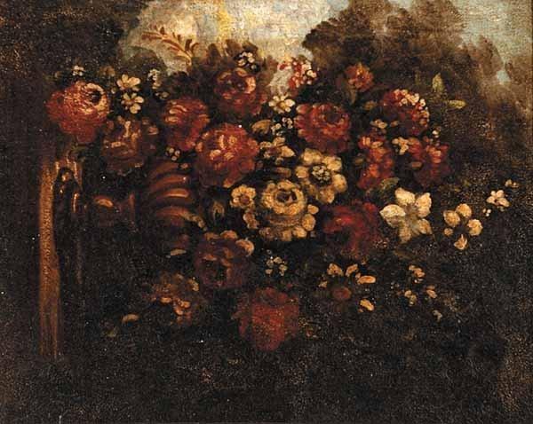 "0008: Spanish School, ""Still Life with Flowers"", oil"