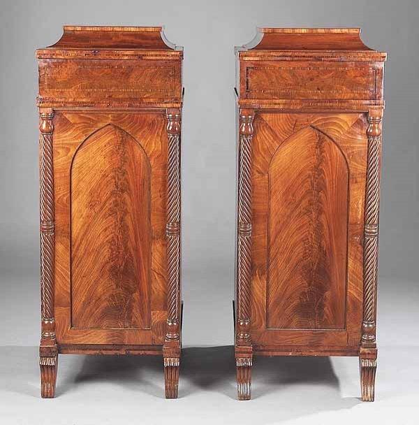 0011: Pair of Late Regency Mahogany Pedestal Cabinets