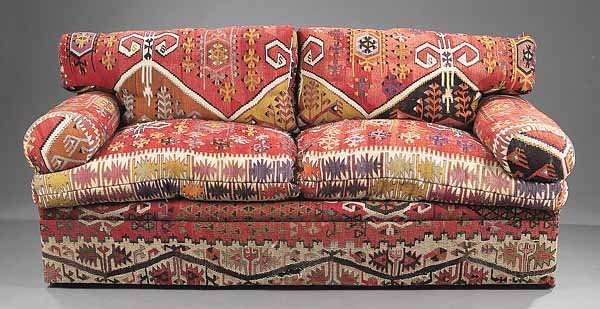 0012: Contemporary Sofa Upholstered in Antique Kilim