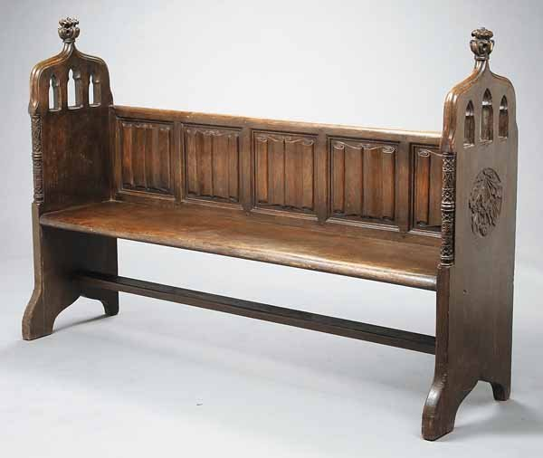0013: English Gothic Carved Oak Bench
