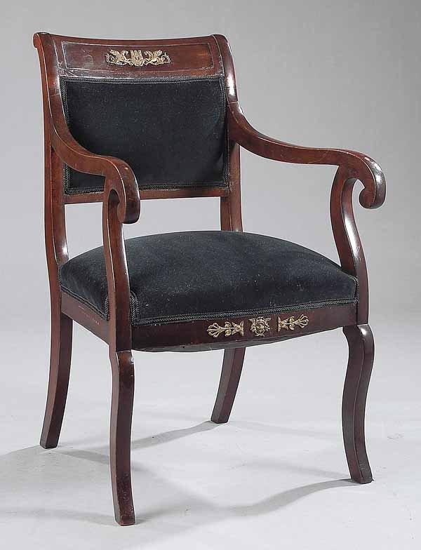 0017: Empire Mahogany and Gilt Bronze Armchair