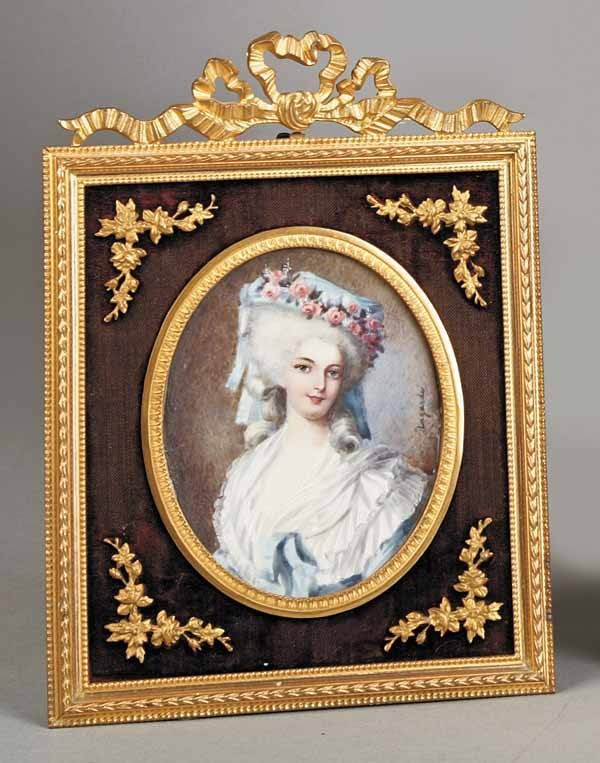 0021: French Oval Miniature Portrait on Ivory