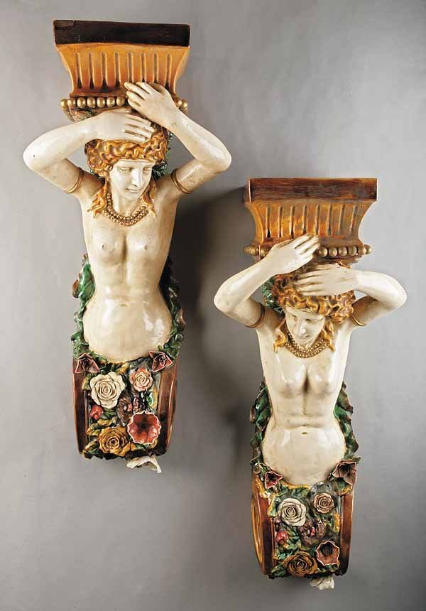 0262: Pair of Continental Majolica Figural Brackets