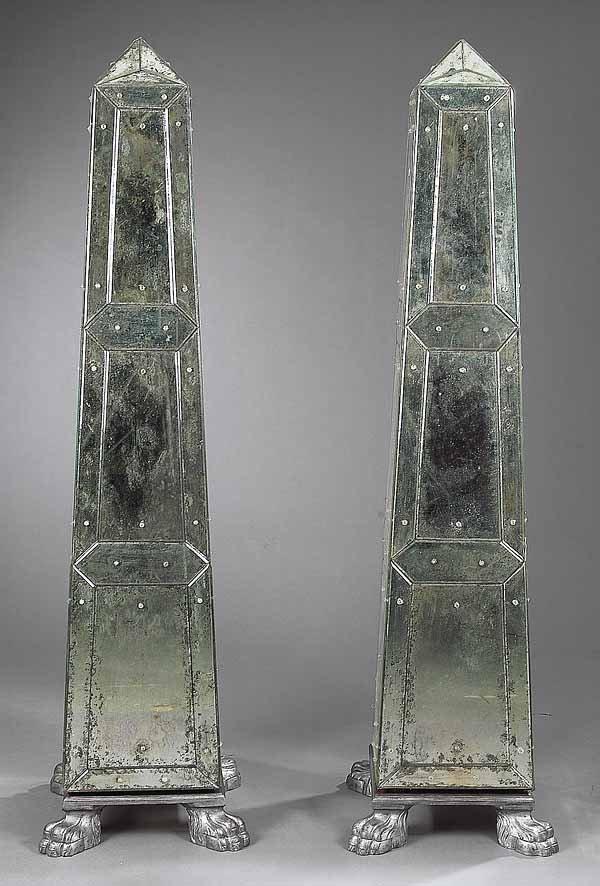 0319: Pair of Venitian-Style Mirrored Obelisks